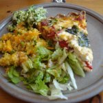 Roast red pepper quiche with quinoa and salad
