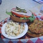 veggie burger with coleslaw