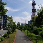 Walk along the park near the Sapporo TV tower