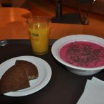 Cold beet soup and bread