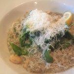 Seafood risotto.- Calamari, salmon, prawns, courgettes, chilli & white wine.