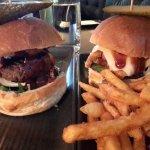 Wagyu burger on left