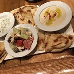 Hummus Trio - delicious!!! Asked for another bread to finish it off. A definite plus.