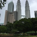 The hotel, with the KLCC park in front and the Petronas towers in the background