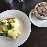 """Have eaten here before and again it has dominated best thing about the cappuccino in the mug """"no"""