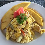 Roasted breadfruit, Ackee and cod fish