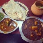 Aloo gobi, garlic naan and mango lassi