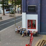 Just one of the coffee shops viewed from the balcony