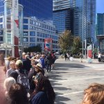 The line waiting to board the Hop On Hop Off buses in Vancouver