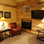 Fireplace and flat screen television in Bunkhouse Room