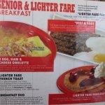 Senior lighter fare menu