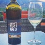 Drinking Rust Wine on their beautiful patio!