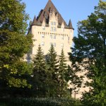The back of Chateau Laurier . The park makes it look like Europe.