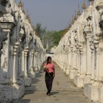 Waling in the lane of the white stone inscriptions at Kuthodaw Pagoda