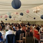 The marquee is a perfect setting for the wedding breakfast