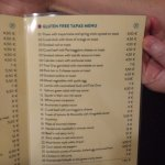 Gluten-free menu (inside)