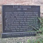 Plaque Dedicated to Lord Armstong of Cragside