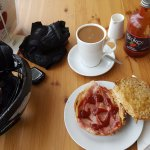 A chilly charity cyclists dream - bacon bap and mug of coffee!