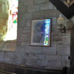 Panoramic view showing the stained glass windows