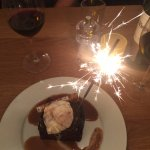 To die for sticky toffee pudding (sparkler for the birthday girl!)