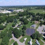 Kentucky Horse Park Campground arial view showing proximity to the Kentucky Horse Park.