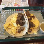 Breakfast tacos with tomatillo salsa