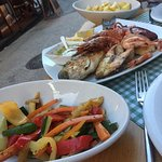 The seafood platter with fresh vegetables