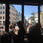 Vie from ground floor looking out on Hojbro Plads & The stork fountain.