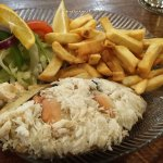 Simple, but delicious crab salad and fries