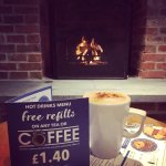 Come and relax in front of our open fire with a refillable coffee.