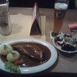 Dinner, pork, potatoes, salad and Weissbier