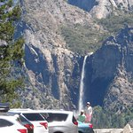View of Bridalveil Falls from parking area