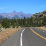 Road view along the Chief Joseph Scenic Byway, WY