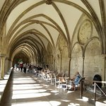 Eat outside in the cloisters if there are no clean tables inside