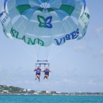 Parasailing off Grace Bay, Turks & Caicos