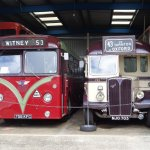 Two buses on display at the Oxford Bus Museum