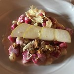 Gnocchetti made with beets in a creamy pear sauce