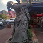 The spinning statue at the restraunt