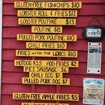 The Chip Shack menu.
