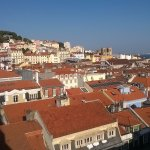 "View from ""Hippest Coolest Lisbon"" Airbnb, overlooks Baixa and Alfama."