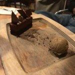 Chocolate cake (?) with espresso ice cream