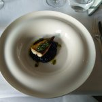 Crisp Scottish mackere, squid ink risotto, coriander gremolata