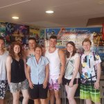 A photo we took with Sue, an event manager, the best thing about the Alborada Beach Club