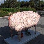A sculpture of a pig