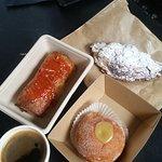 Bakery - sausage roll, almond croissant, salted caramel doughnut
