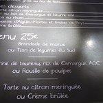 le menu à 25 €