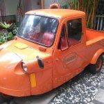 Unique car in the hotel playground