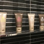 Molton Brown amenities in the shower.