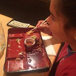 She's 11 and loved every bit of her Teryaki Chicken with tempura