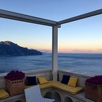 Spectacular views of Amalfi and Gulf of Salerno from the roof-top terrace, steps from our room